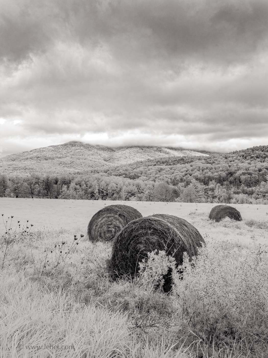 3 round hay bales, ascutney mountain, vermont, infrared