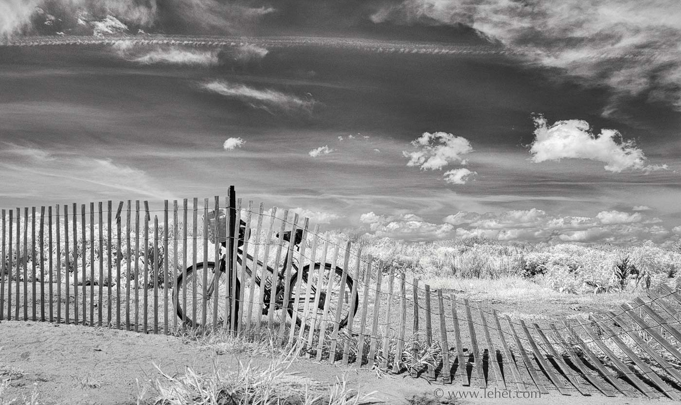 fine art print of bicycle by beach fence in Rhode Island