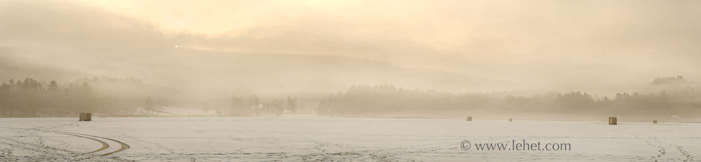 Sunrise over Franklin Hill, Mist, Ice Fishing Huts