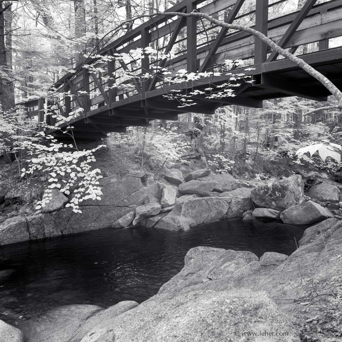 Foot Bridge in White Mountains, Black and White Photo