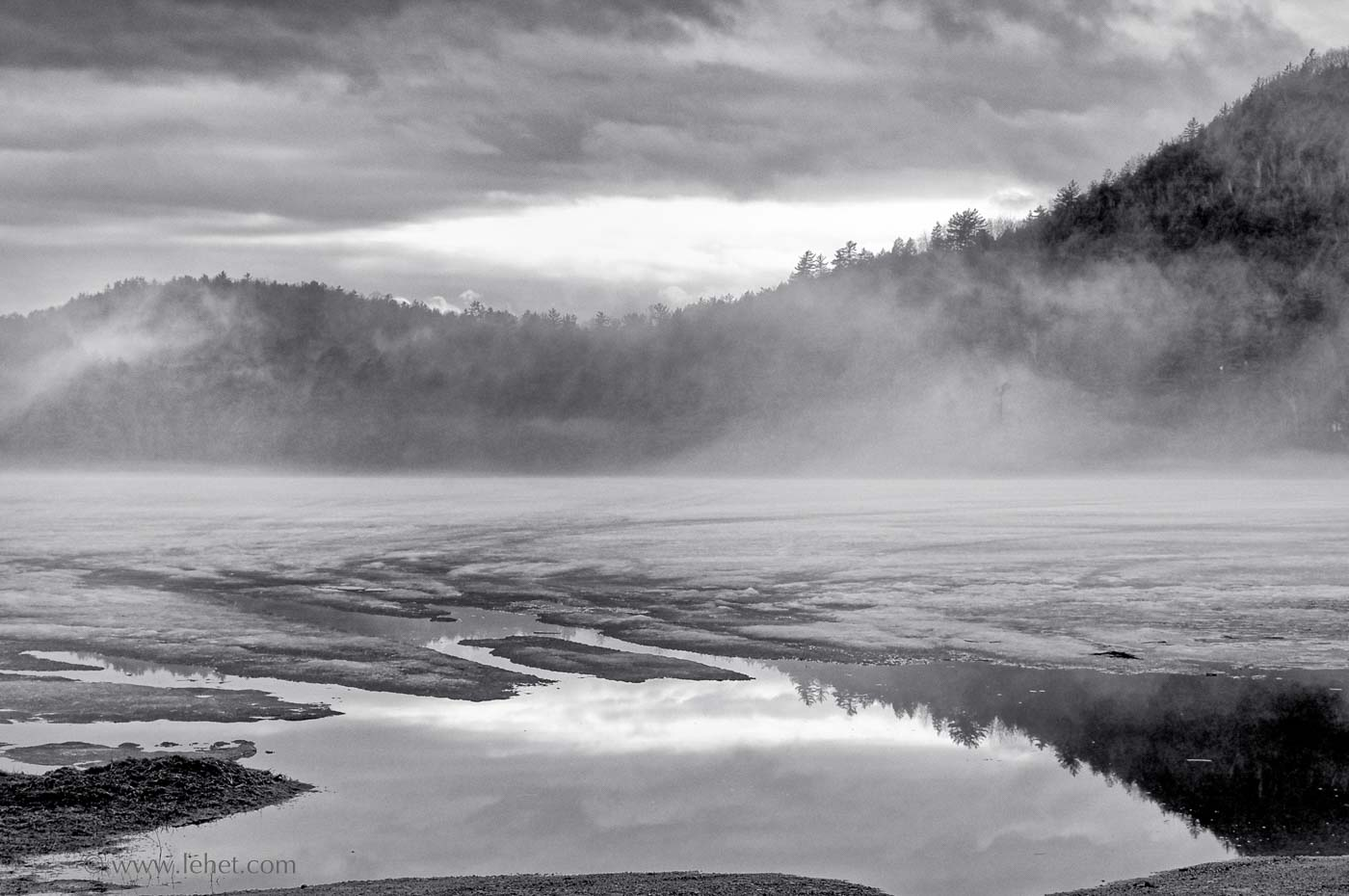 Post Pond, Ice and Mist, Black and White