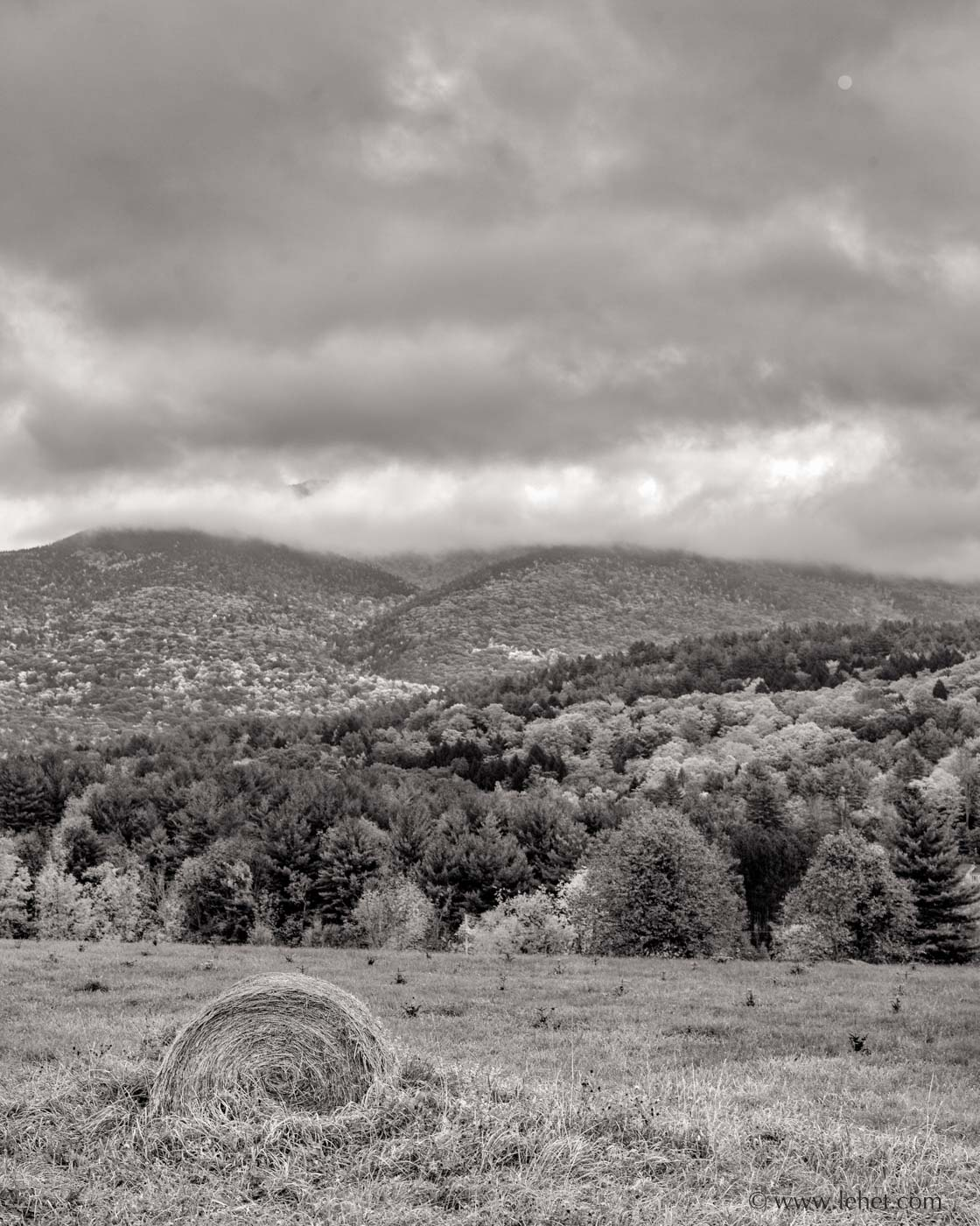 Single Round Hay Bale Mount Ascutney, Clouds, Vermont, Black and White