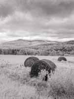 Three Abandonded Hay Bales, Ascutney Mountain, Low Clouds, Infrared