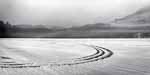 Curved Track on Ice, Hills, Mist Black and White -- Post Pond