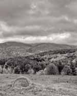 Single Round Hay Bale, Ascutney in Clouds