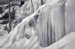 Cliff Icicles on Mt Ascutney, Black and White