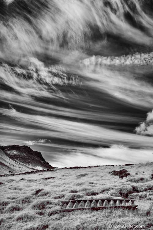 horizontal staircase, infrared, iceland
