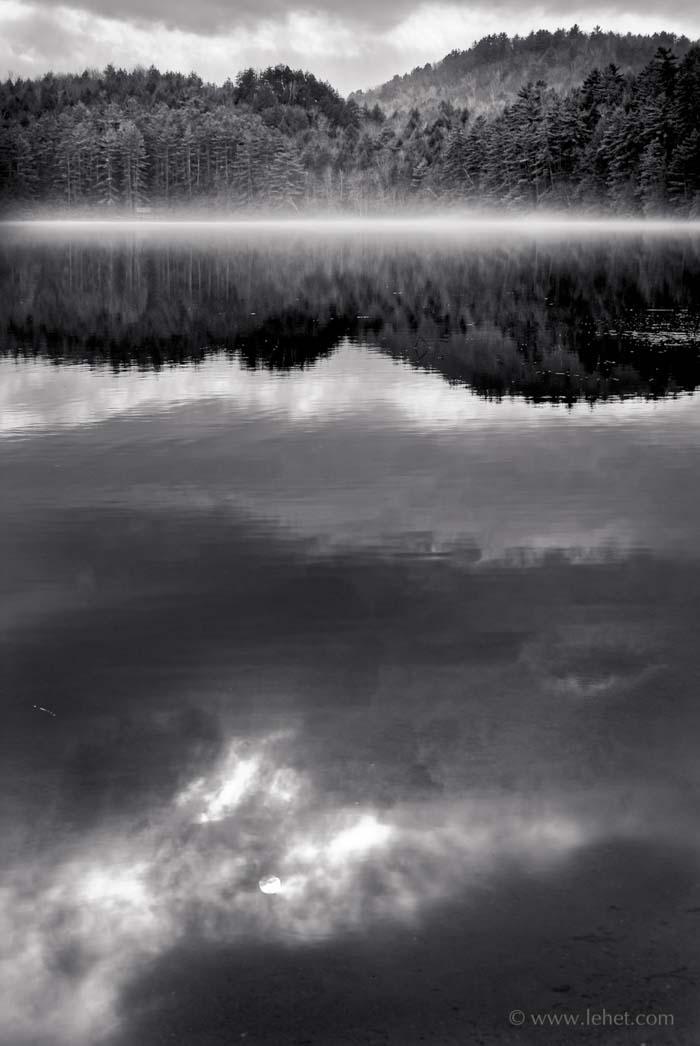 Post Pond Black and White Photo
