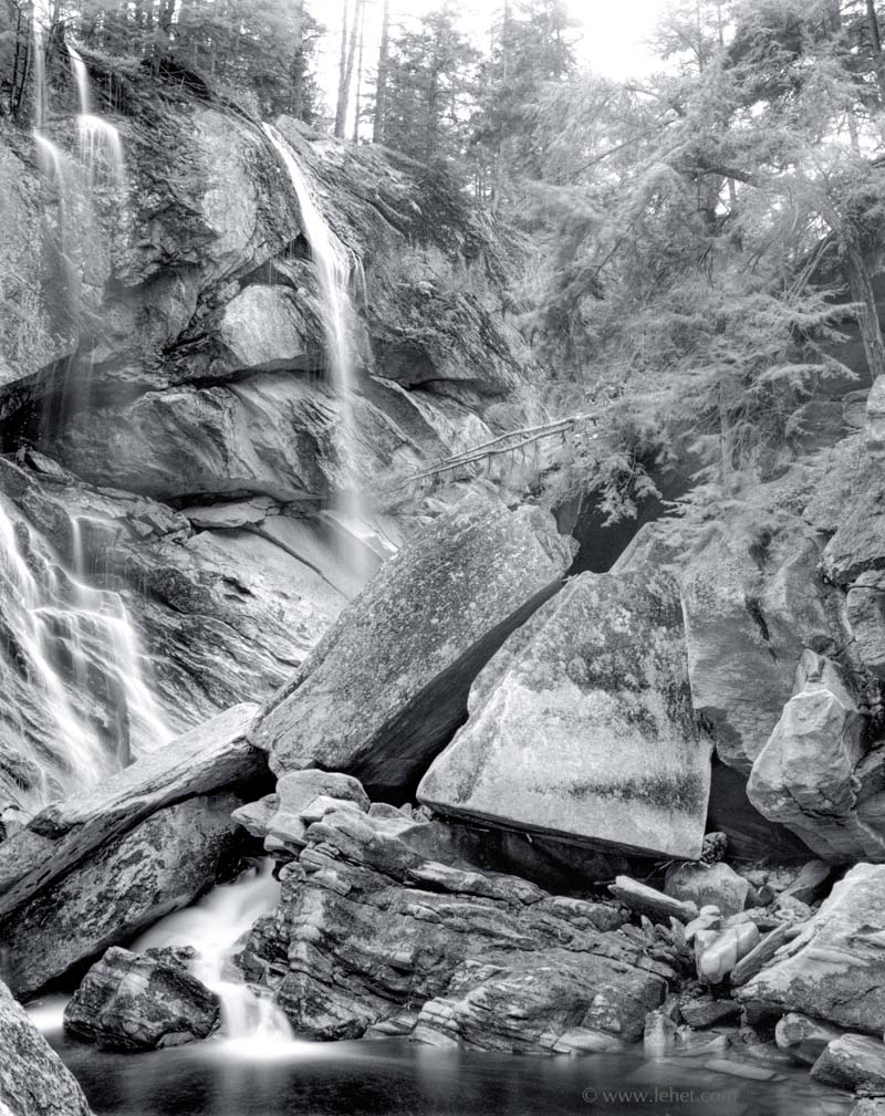 Cavendish Gorge Waterfall, Vermont, Black and White