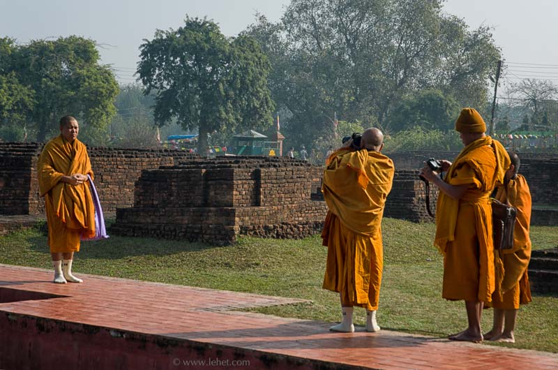 Four Theravada Monks Photographing at Lumbini