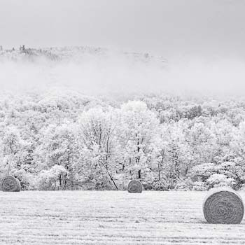 Five Hay Bales, Fog and Hills Canaan NH 2006
